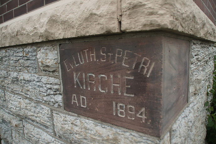 Original cornerstone for St. Petri Kirche, southwest corner of Mount Vernon Missionary Baptist Church