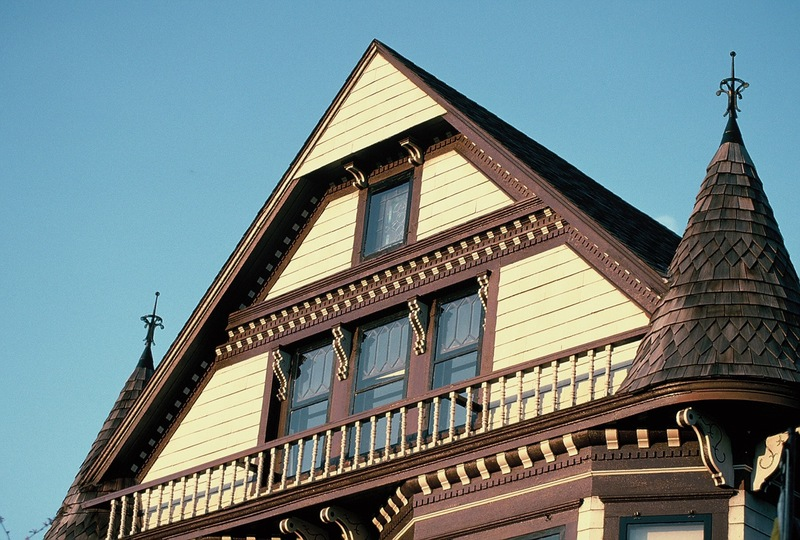 Detail of John Lohmar house, west facade