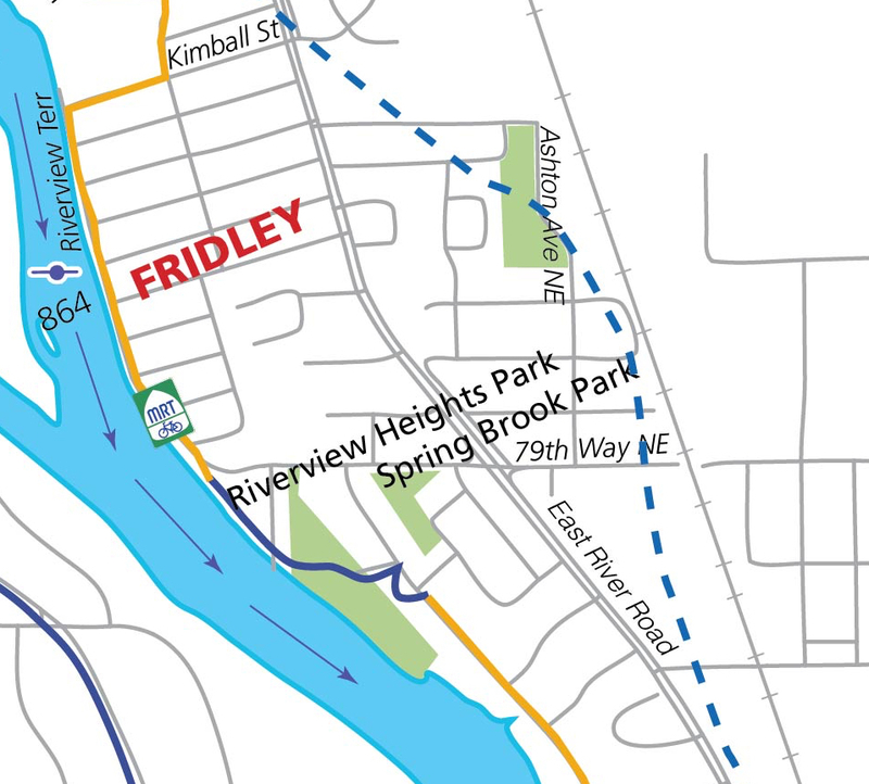 Ashton Avenue Northeast (dashed blue line marks Ox Cart Trail path)