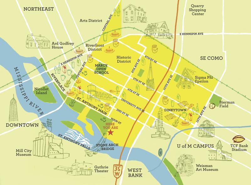 Map of Marcy-Holmes Neighborhood