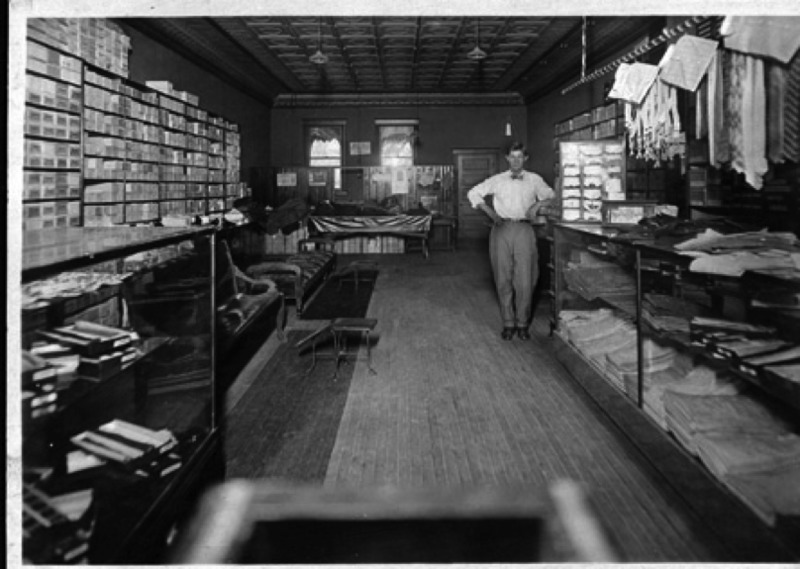 Vincent Schuler in his original store at the corner of Washington Avenue and Broadway, date unknown