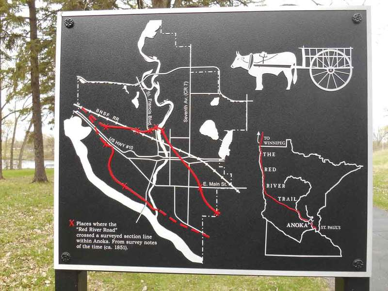 Interpretive sign near the Rum River Regional Trail, Anoka